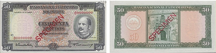 Paper Money - Mozambique 50$00 1958, SPECIMEN