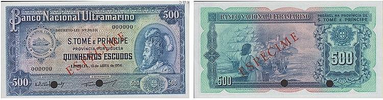 Paper Money - Saint Thomas and Prince 500$00 1956, ESPÉCIME