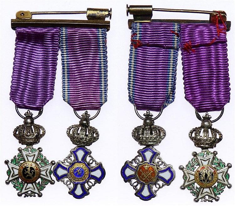 Medal - Belgium - Miniaturas Ordem Real do Leão e Leopoldo II séc XX