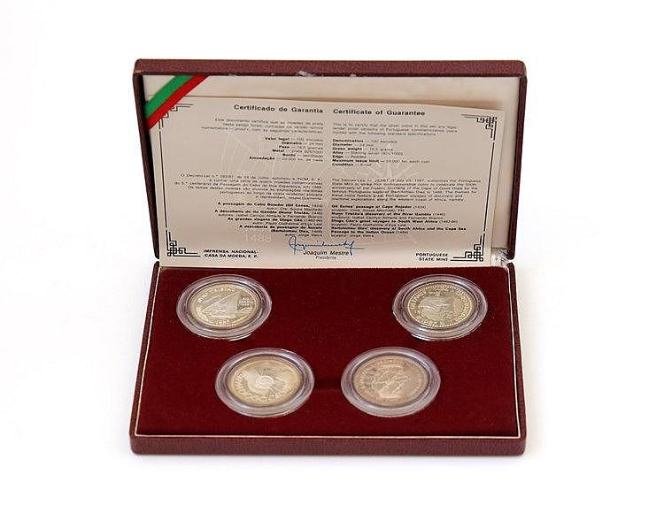 Portugal - Republic - 4 coins, I Série Descobrimentos 1988