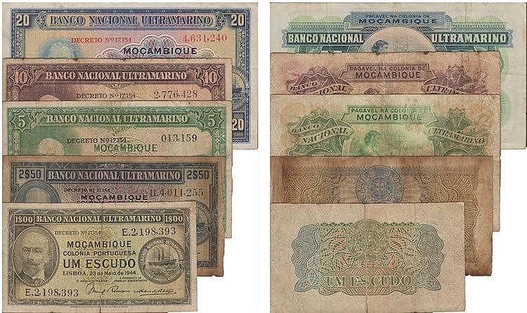 Paper Money - 5 expl. Mozambique 1$, 2$50, 5$, 10$, 20$ 1943-1945