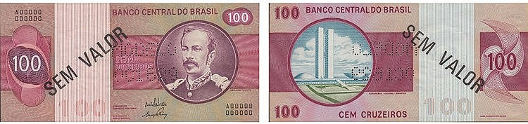 Paper Money - Brazil 100 Cruzeiros ND SPECIMEN