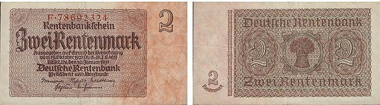 Paper Money - Germany 2 Rentenmark 1937