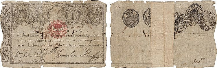 Paper Money - Apólice do Real Erário - 10$000 Réis 1799