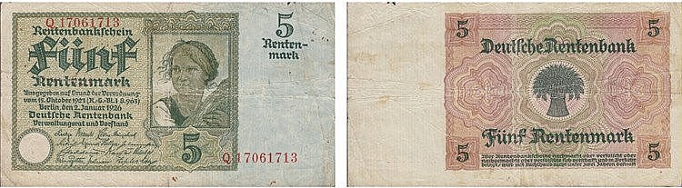 Paper Money - Germany 5 Rentenmark 1926