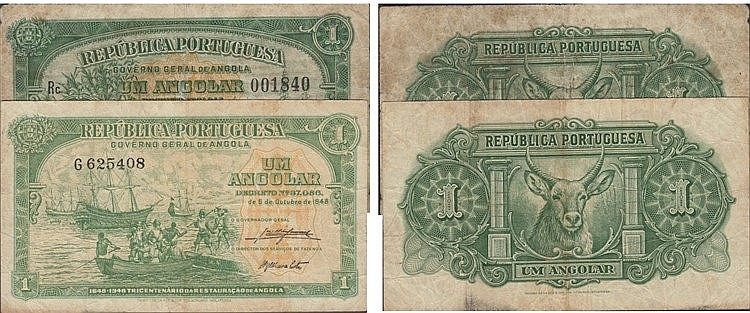 Paper Money - Angola 2 expl. Angolar 1942-1948