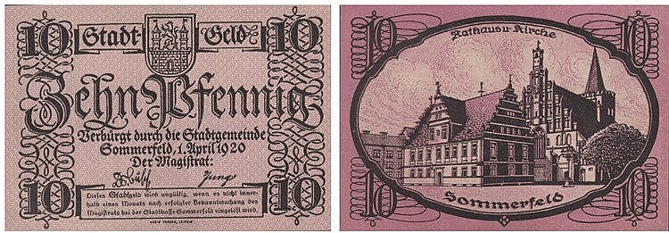 Paper money - Germany 10 Pfennig 1920