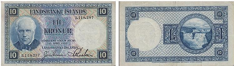 Paper Money - Iceland 10 Krónur 1928