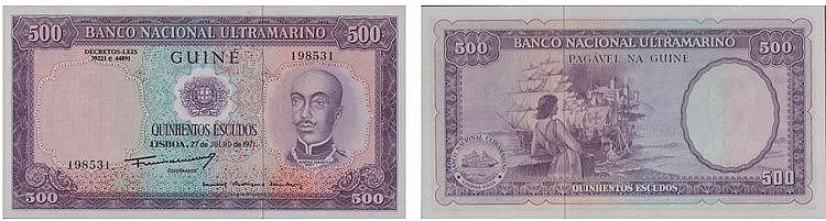 Paper Money - Portuguese Guinea 500$00 1971