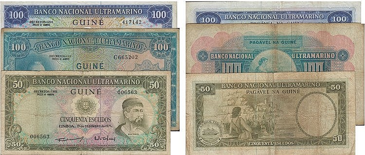 Paper Money - 3 expl. Guinea 50$, 100$ 1964-1971