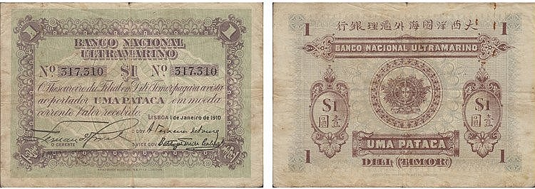 Paper Money - Timor Pataca 1910