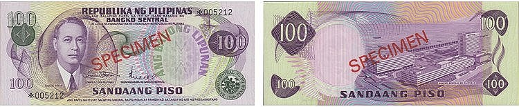 Paper Money - Philippines 100 Piso ND, SPECIMEN