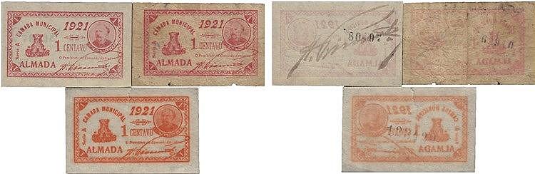 Cédula - Almada 3 expl. 1 Centavo 1921