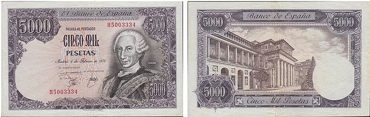 Paper Money - Spain 5000 Pesetas 1976
