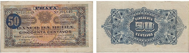 Paper Money - Mozambique 50 Centavos 1919