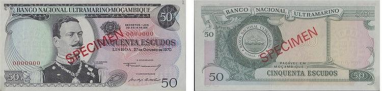 Paper money - Mozambique 50$00 1970, SPECIMEN