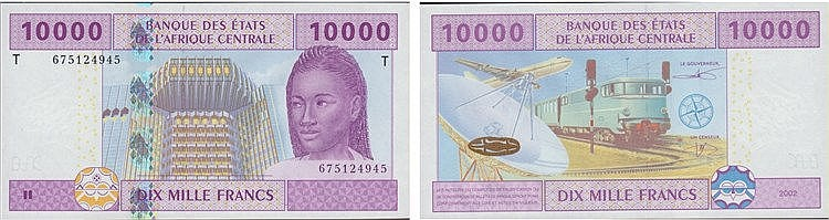 Paper Money - Central Africa 10 000 Francs 2002