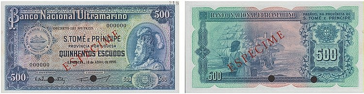 Paper Money - Saint Thomas and Prince 500$00 1956, ESPÉCIME