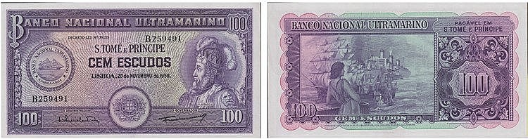 Paper Money - Saint Thomas and Prince 100$00 1958