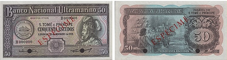 Paper Money - Saint Thomas and Prince 50$00 1958, ESPÉCIME