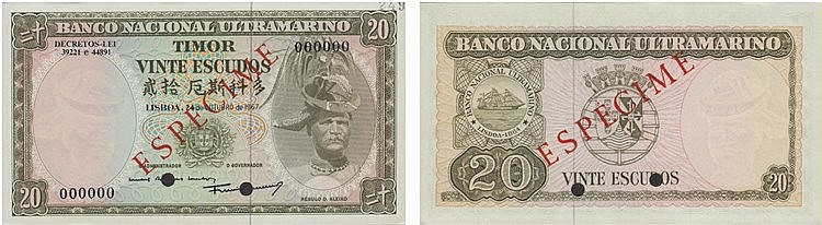 Paper Money - Timor 20$00 1967, ESPÉCIME