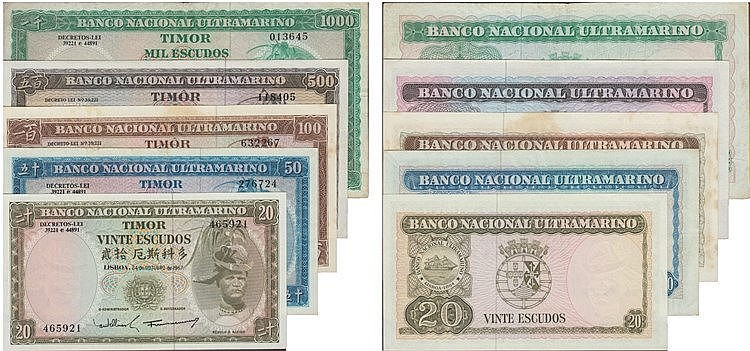 Paper Money - Timor 5 expl. 20$, 50$, 100$, 500$, 1000$ 1963-1968