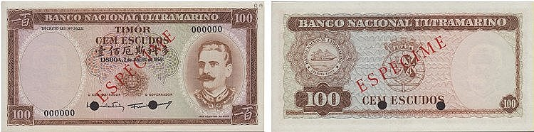 Paper Money - Timor 100$00 1959 ESPÉCIME