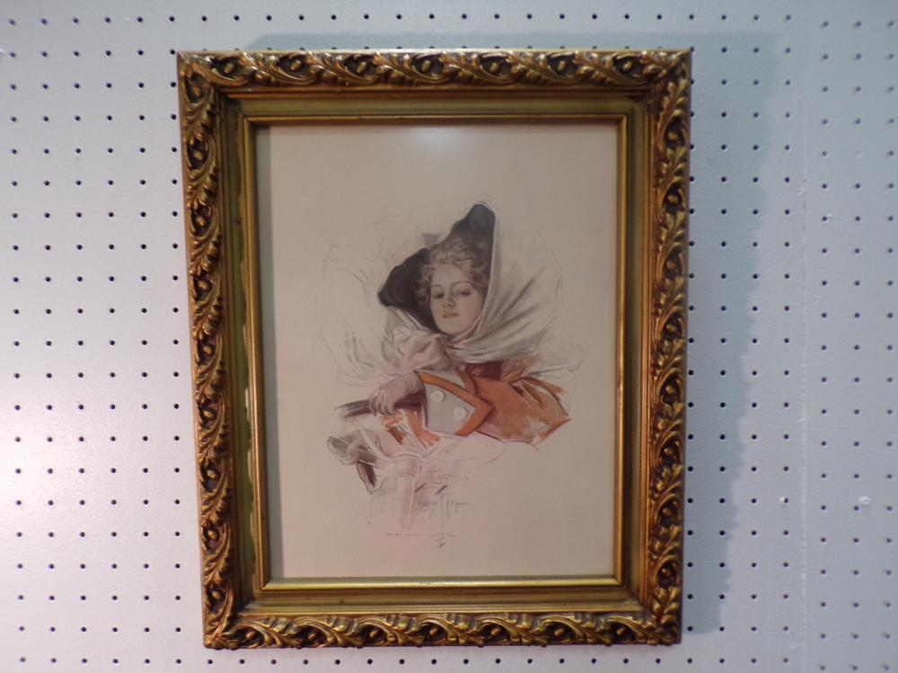 Framed Harrison Fisher Print (Lady Driving)