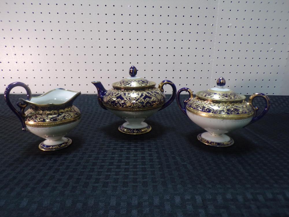 Antique Blue and Gold Ornate Tea Set