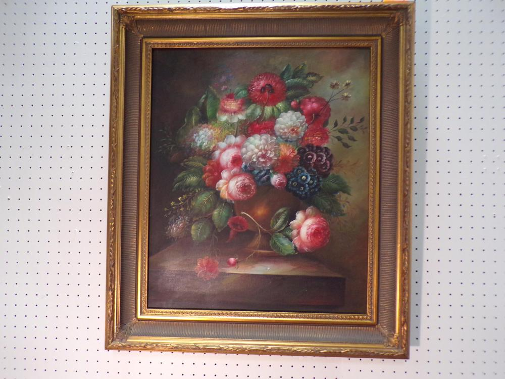 """Gold Framed Floral Oil on Canvas 30"""" x 26""""W"""