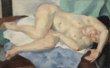Charles KVAPIL (1884-1957) Nu allongé Huile sur toile, signée et datée 1932 en bas à