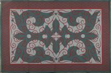 Élizabeth GAROUSTE & Mattia BONETTI Tapis rectangulaire en laine de couleurs à motifs rouge sur fond vert et grisé.