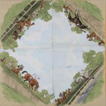 Karl REILLE (1886-1974) Course hippique, projet de foulard sur quatre