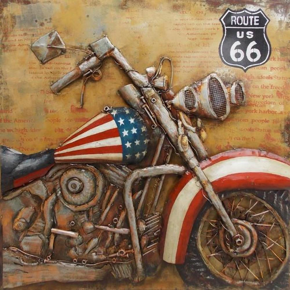 Hand MadeMotorcycle Bike with Flag 3D Wall Mount Painting