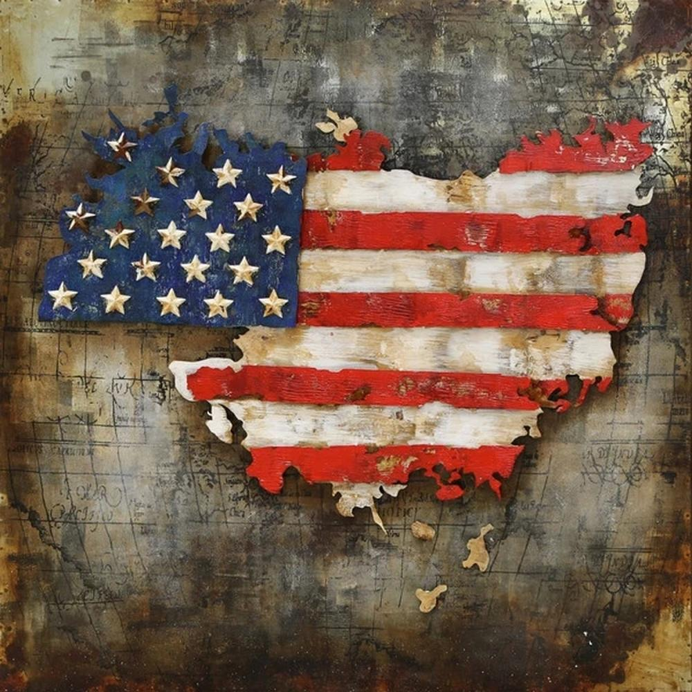 United State Map with American Flag 3-D Wall Mount Painting