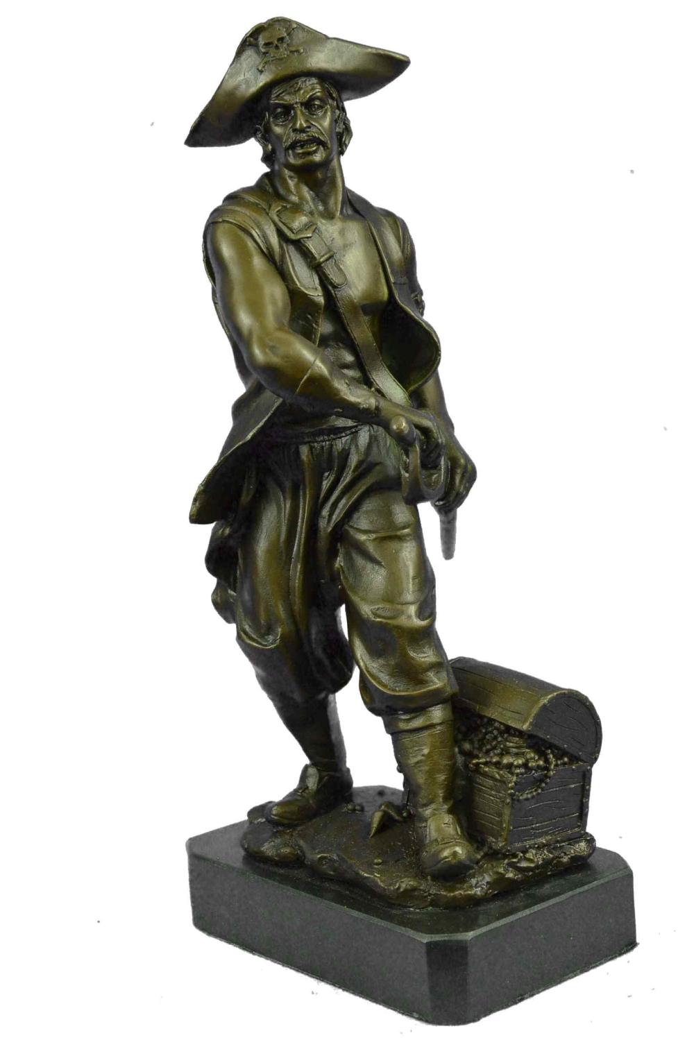 Handmade Art Collector Collectible Pirate with Sword Bronze Sculpture