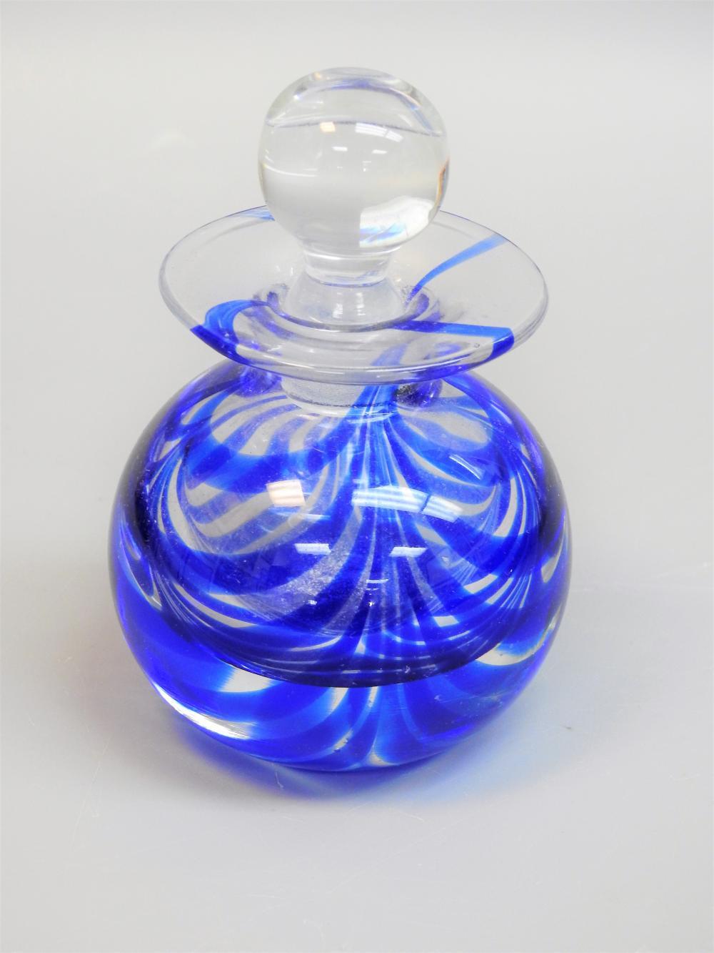Lot 90M: VINTAGE MMA GLASS ART COBALT BLUE PERFUME BOTTLE