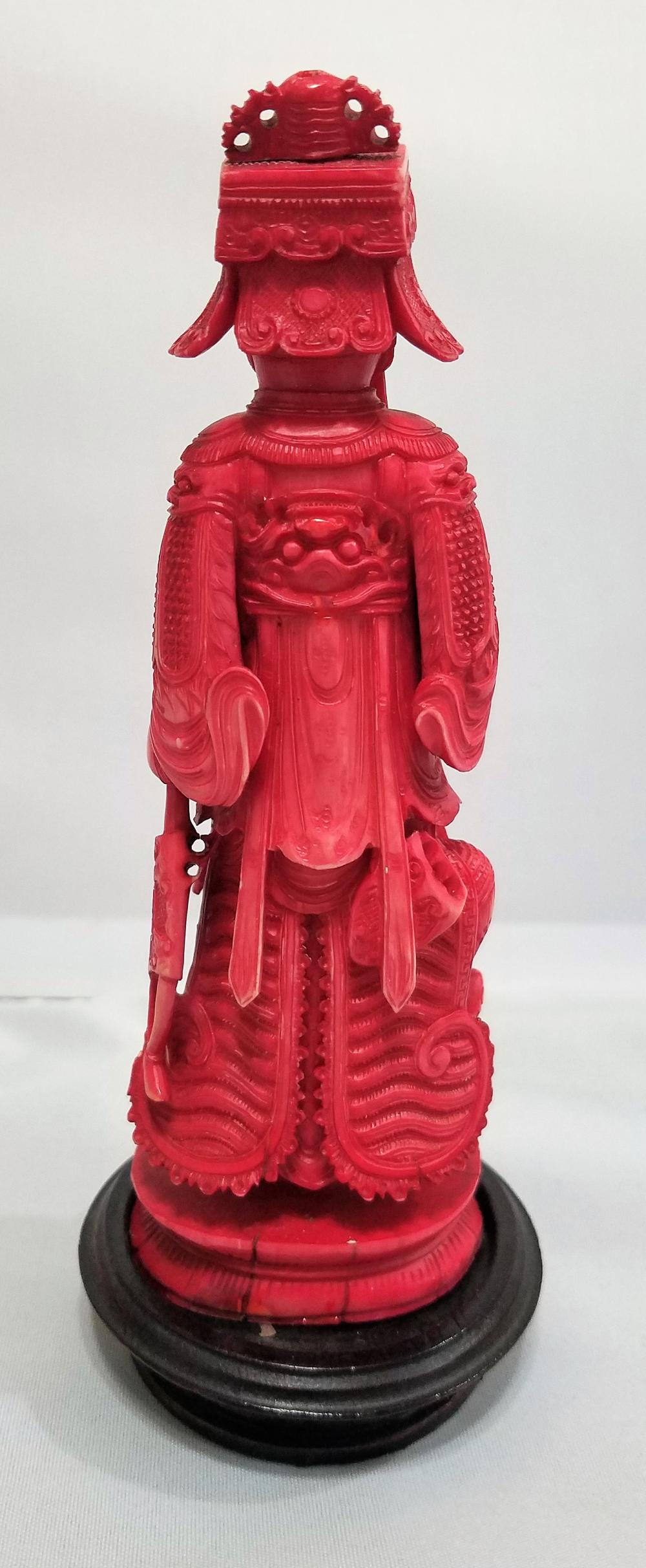 Chinese Faux Ivory Red Emperal Figural Sculpture