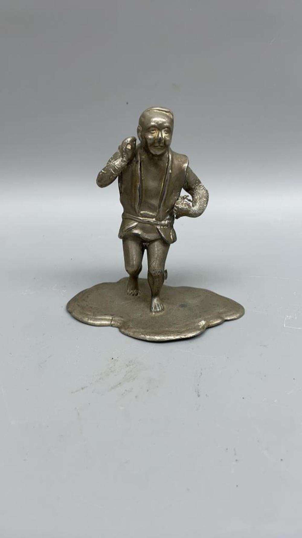 """Antique Chinese medal sculpture of a man 4.25""""x 4"""" x 2.25"""""""
