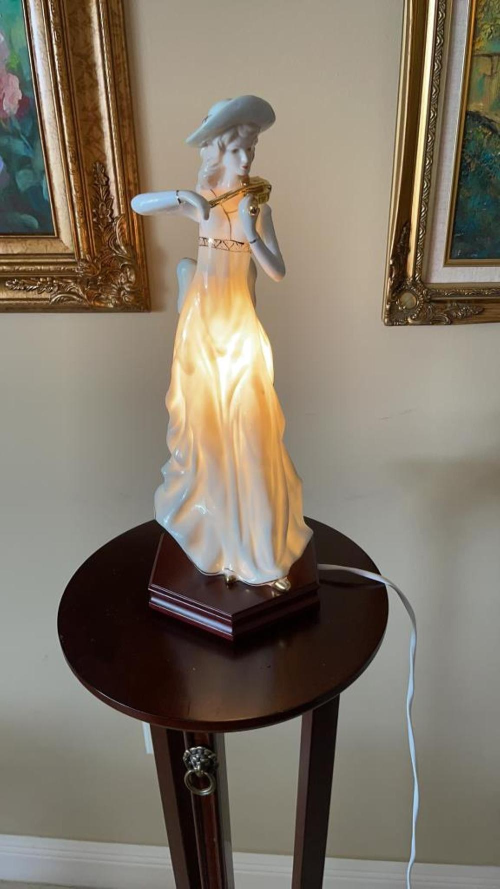 """Vintage hand painted porcelain lamp of young lady playing violin 15.5"""" ht"""