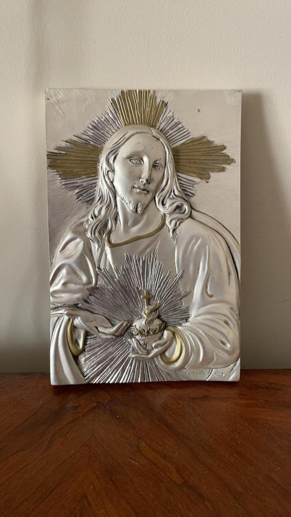 "Argenti silver overlay plaque of Jesus 12"" x 12"" x 7.25"""