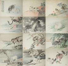 SET OF 12 ALBUM PAINTINGS OF ZODIAC ANIMALS BY LU HUI