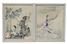 Two Court Lady Paintings, Fei Dan Xu, 19th Century
