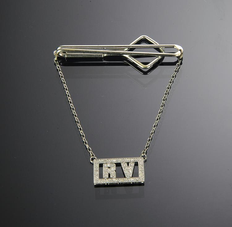 RUDY VALLEE'S CUSTOM INITIAL TIE BAR WITH DIAMONDS