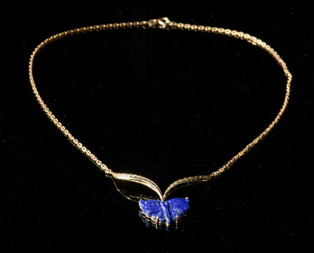 14K GOLD AND LAPIS BUTTERFLY NECKLACE