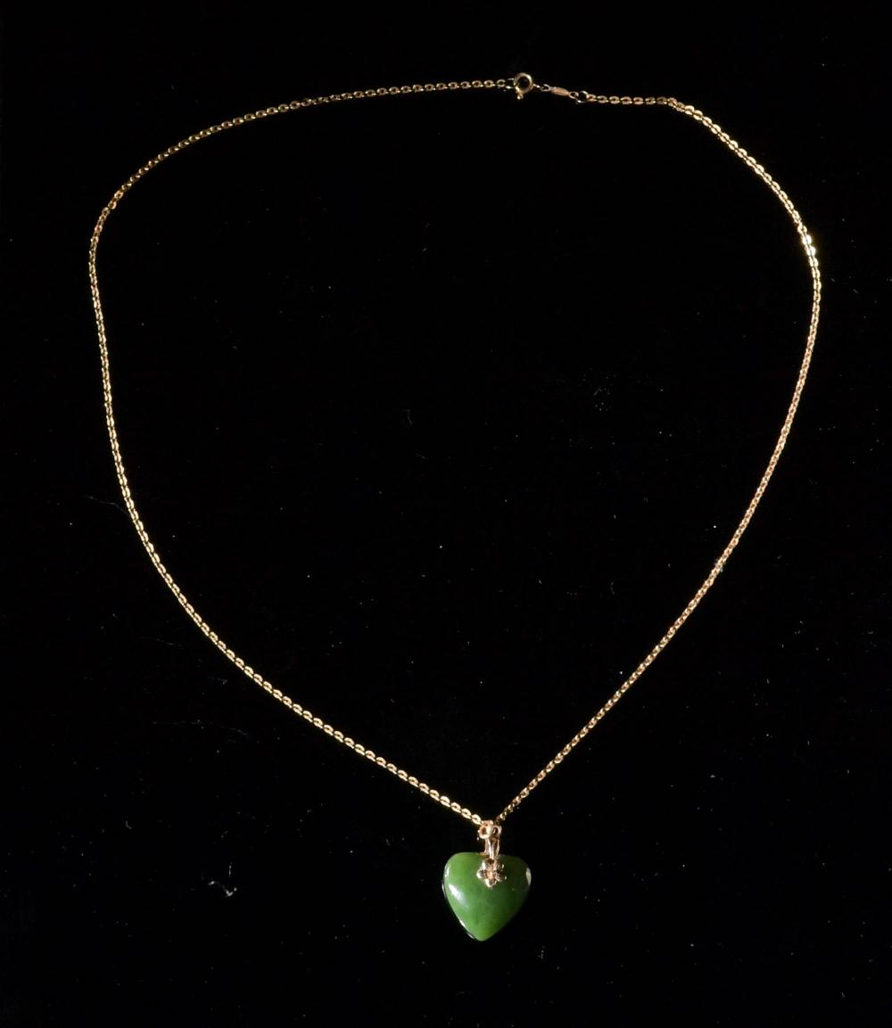 18K GOLD AND JADE NECKLACE WITH 14K JADE EARRINGS