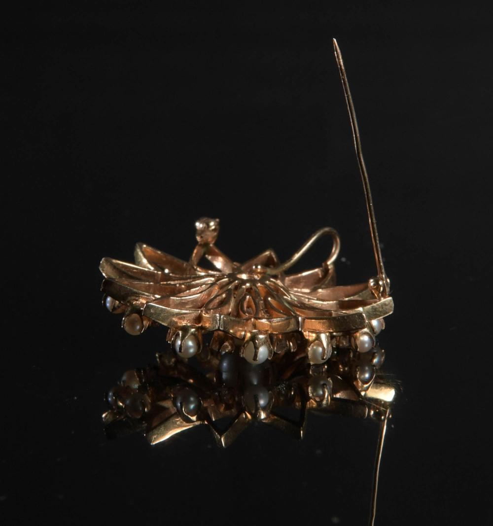 14K GOLD PEARL AND DIAMOND BROOCH / PENDANT