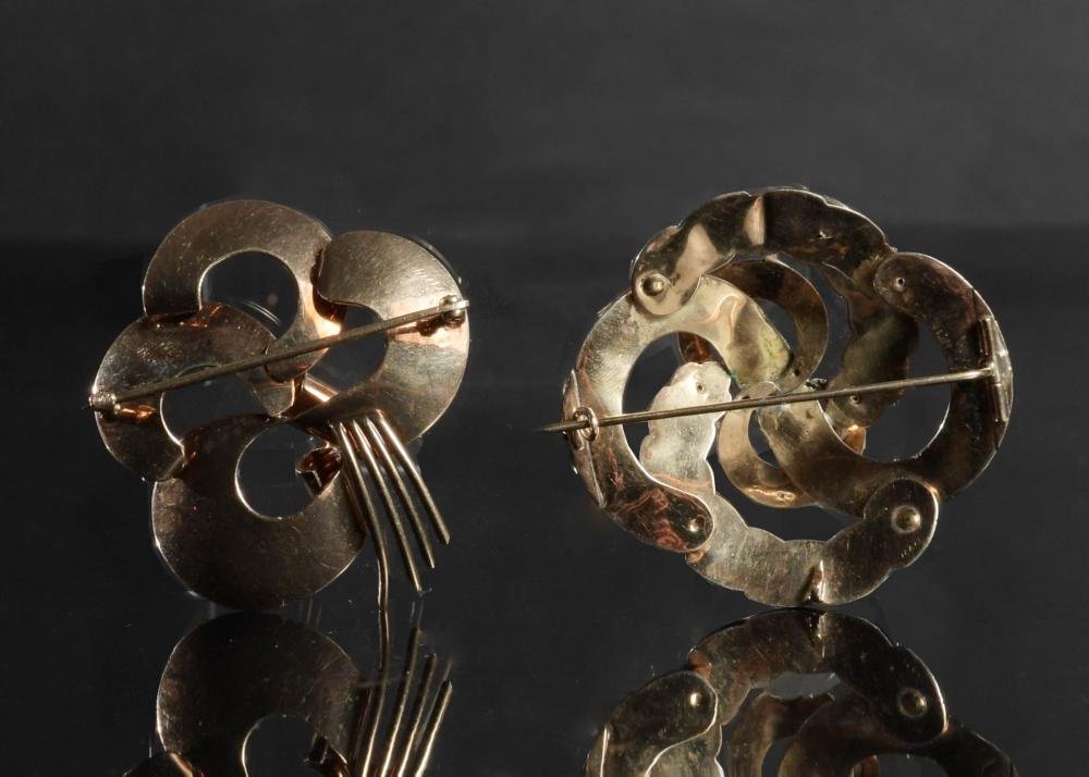 2 14K GOLD BROOCHES, CIRCA 1870 AND MID-CENTURY MODERN