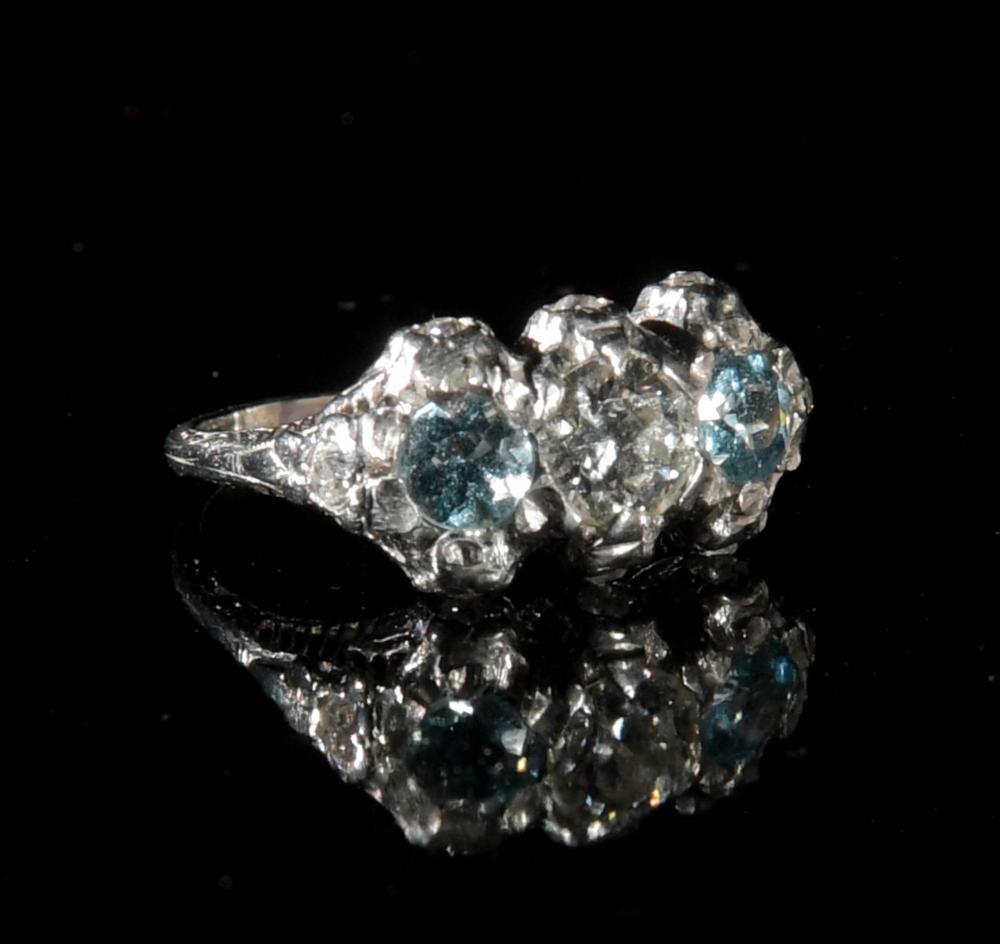 LADIES ANTIQUE PLATINUM, DIAMOND AND AQUAMARINE RING