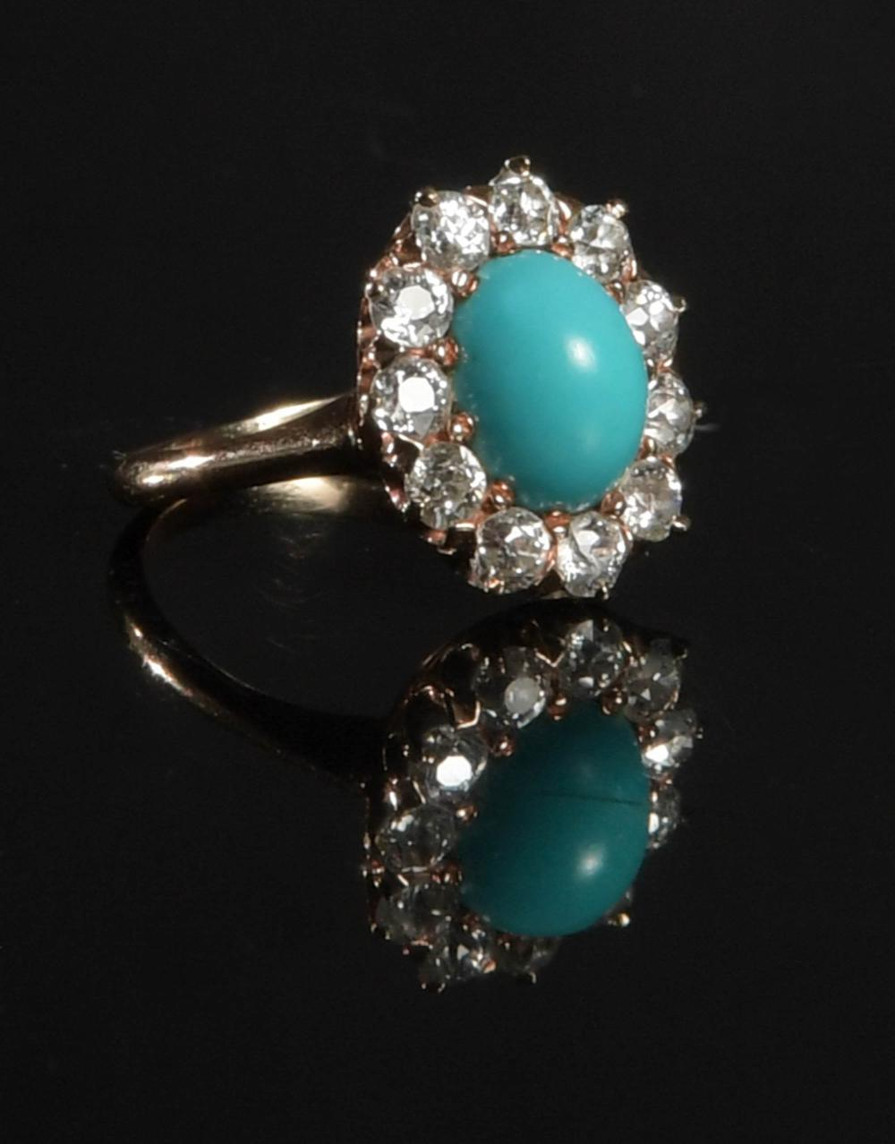 LADIES 14K GOLD, DIAMOND AND PERSIAN TURQUOISE RING